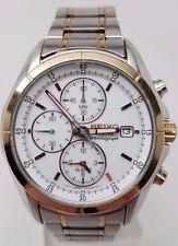 Seiko SSC002 Solar Alarm Chronograph Two Tone White Dial Men's Watch