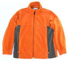 Columbia Fleece Zip Up Sweater Youth 10/12 Orange Gray Used Nice Warm