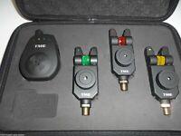 3 x TMC Mag Roller wireless Bite Alarms, Receiver, Case. Carp, LED, Mufflers