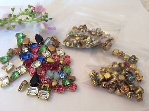 250 Vintage Brass set Mixed Shape Rhinestones BARGAIN PACK for CRAFT Post Free