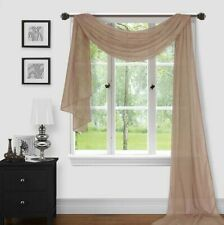 Home 1pc Window Sheer Voile Scarf Valance, Decorative Sheer Valance Solid Color.