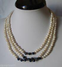 BIJOU ANCIEN COLLIER perles d'eau douce lapis lazuli fermoir aimanté NECKLACE A9