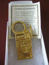 LOVELY .999 GOLD PLATED SLOT MACHINE NICKEL PENDANT ON 22 INCH NECKLACE!!
