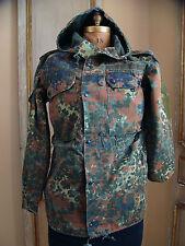 GERMAN ARMY FLECKTARN CAMO Hooded Unlined Jacket Used Size Large