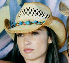 NEW Conner Hats Women's Raffia Straw Removable Necklace Western Cowboy Hat F1102