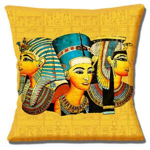 Egyptian Pharaohs Cushion Cover 16x16 inch 40cm Masks Tutankhamun Queens Kings