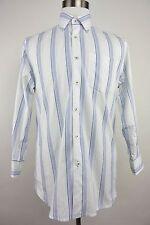 Tommy Bahama Denim Blue White Striped Button Down Cotton Mens Shirt - Medium M