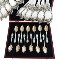 Bruckmann: German .800 Silver & Vermeil Spoon Set with Rococo decor