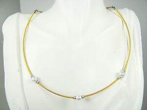 ALOR 18K Gold Stainless Steel Classique 6.35mm Pearl & Diamond Station Necklace