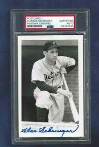 Charlie Gehringer Detroit Tigers Baseball Autographed Brace Postcard PSA SLABBED