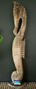 Wooden Seahorse Sculpture Large Brown 103cm Tall NEW