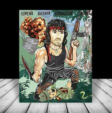 New RAMBO w/ knife ART, sylvester stallone movie, FIRST BLOOD, artist signed