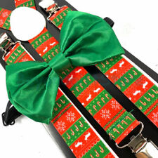 Suspender and Bow Tie Adults Christmas Reindeer Canes Formal Wear Accessories