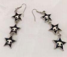 "Cute Skeleton Earrings Goth Black 3 Stars Fashion 2.5"""