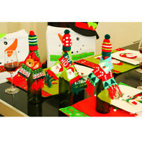 2Pcs/Set Merry Christmas Wine Bottle Cover Cute Mini Hat and Scarf for Bottle