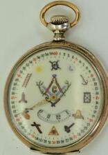 Rare antique Revue Tommen silver DIGITAL HOURS dial Masonic pocket watch c1900