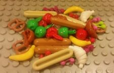Lego NEW 60 pc. Food Lot - Apple Cherry Banana Pretzel Bread Croissant