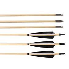 6X Archery Wooden Arrows Handmade Turkey Feather Nock For Tradiational Bow 32''