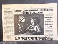 Kamera,Ermanox m.Ernostar 1:2,0,Ernemann Werke AG Dresden,orig.Anzeige 1925