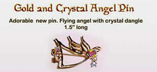 Adorable Gold and Crystal Angel Pin