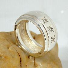 2250. Breiter Silber Ring, 925 Silber FvS  RG.54 (17,2 mm Ø) Zirkonia Blickf.