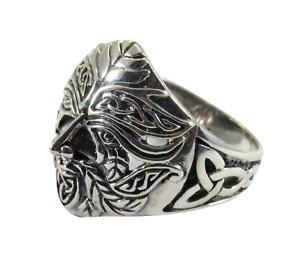 Solid 925 Sterling Silver Men's Celtic Green Man Greenman Ring Pagan Renewal