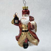 "FITZ & FLOYD SANTA CLAUS with Lantern Blown Glass  Christmas Ornament 5"""