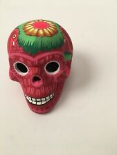 """SAN MIGUEL DE ALLENDE  """"DAY OF THE DEAD"""" HAND PAINTED RED SKULL w/ FLORAL DESIGN"""