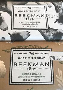 SEALED Beekman 1802 Goat Milk Bar Soap 9 oz. Vanilla Absolute and Sweet Grass.