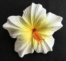 Hawaiian Foam Hibiscus Flower Hair CLIP White Yellow Wedding Bridal Luau Party