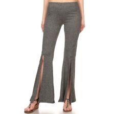 L Women's Stretch Pants Split Flare Leg Casual Work Fashion Yoga Gray Leggings