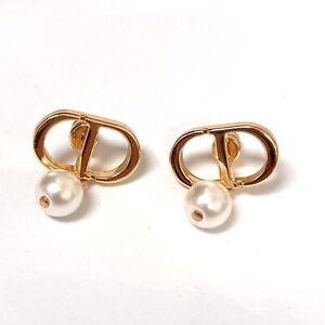 Dior Gold Tone Pearl Earrings
