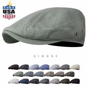 WF Gatsby Tweed Plaid Ivy Plain Cotton Cap Hat Golf Flat Cabbie Newsboy