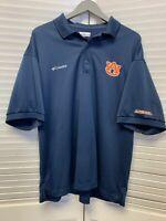 New Columbia Auburn Tigers Golf Polo Large Blue Orange Embroidered