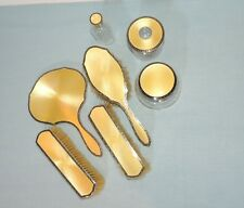 Sterling Silver Yellowish Gold Guilloche  Enamel  Brushes Mirror Boxes Perfume