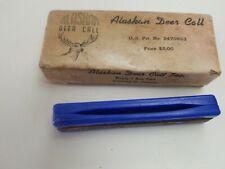 Vintage Original Alaskan Deer Call box & paper Rare Blue USA