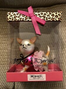 Betsey Johnson Dog Ornament With Tutu In Box Blown Glass Christmas