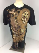 Bugle Boy Original Style Black/Tan Skull Dragon Sun Pattern T Shirt Sz L