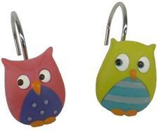 Whooty Hoot Owl 12 Shower Curtain Hooks Bath Pink Purple Yellow Green Teal Bird