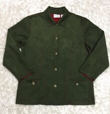 Alfred Dunner Ladies Size 10 Jacket Faux Suede Green Lightweight Button Front