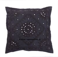 Indian Cotton Mirror Embroidered Cushion Cover Ethnic Black Pillow Cases 16""