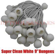 "(100) 9"" WHITE BALL BUNGEE Bungie Cord Heavy Duty Canopy Tarp Tie Down Accessory"