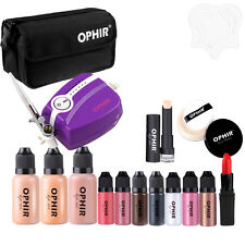 OPHIR Pro 0.3mm Air Brush Mini Compressor Makeup System Kit with 30ML Foundation