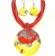 Mother of Pearl Orange Yellow Shell Necklace Set Elegant Winter Cruise Jewelry