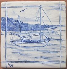 Hand painted 'Yacht in Blue' handmade in  U.K.