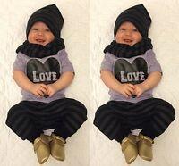 Cute Infant Baby Boys 3-piece Outfit T-shirt Leggings Pants Hat Clothes Suit Set