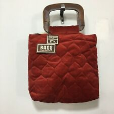 Vintage Deadstock Mark Baren For Mr. Bags Quilted Wood Top Handle Purse '70's
