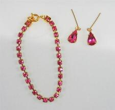 """For Cissy Sparkling Rose PINK Rhinestone Necklace Jewelry Set, fits 18-22"""" Dolls"""