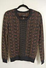 NEW Rag & Bone Metallic Print Scoop Neck Sweater- Black combo size S