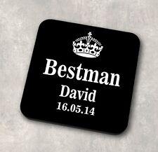 Personalised Bestman Name & Date Coaster Wedding Gift Groom Bride